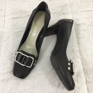 Nine West Square Toe Silver Buckle Heel- Like New
